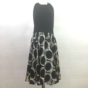 Maggy London Black Ivory Halter Full Skirt Size 14